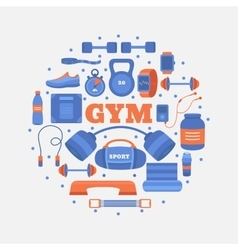 Set of gym equipment vector
