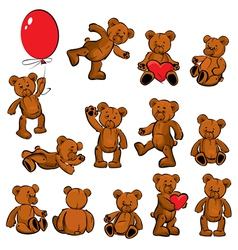 Set of vintage soft toys - teddy bears vector image