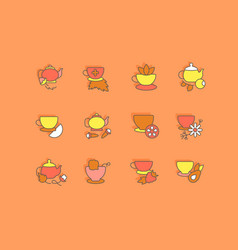 set simple line icons tea vector image