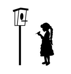 silhouette girl holding bird birdhouse vector image