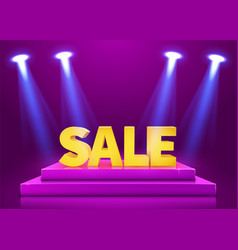 Stage podium with lighting and sale sign vector