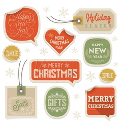 Stickers and Labels for Christmas and New Year vector image