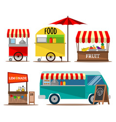 street food seller collection vector image