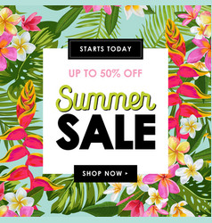 Summer sale tropical banner seasonal promotion vector