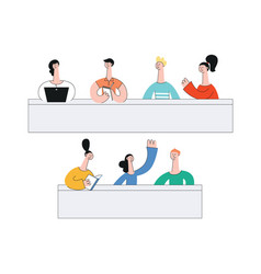 teen students sitting at desk in class vector image