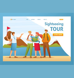 tourists on a tour city flat 2d vector image