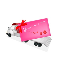Tractor Trailer Flatbed Sending A Valentine Card vector