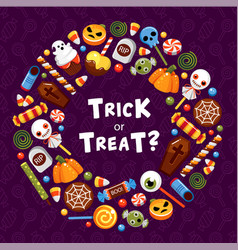 Trick or treat circle frame flat template vector