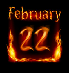 twenty-second february in calendar of fire icon vector image