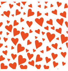 valentines day hearts seamless pattern hand drawn vector image