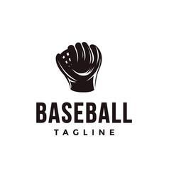 vintage baseball logo with catchers mitt icon vector image