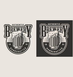 vintage brewery monochrome badge vector image