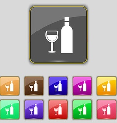 Wine Icon sign Set with eleven colored buttons for vector image