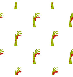Zombie green bloody hand pattern seamless vector