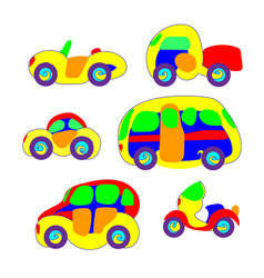 cars in the toy style colorful and funny vector image