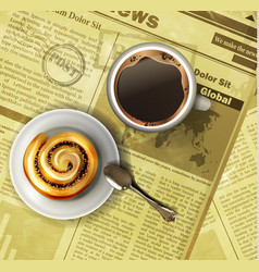 coffee cup on a newspaper vector image