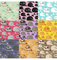 Lying Cat Seamless Pattern vector image vector image