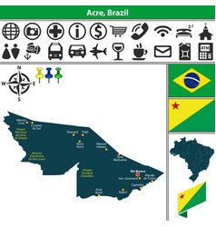 map of acre brazil vector image vector image