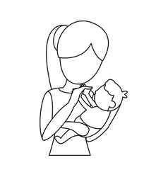 mom carrying little baby outline vector image vector image