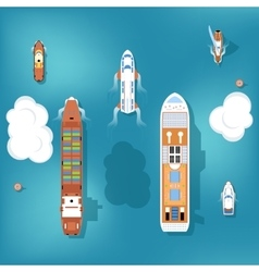 Set of ships Top view vector image