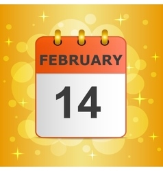 Calendar icon 14 February on festive colorful vector image vector image