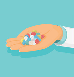 Doctor holds a handful of pills in hand medical vector