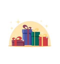 flat gift boxes surprise celebration event set vector image vector image