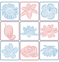 flower design elements vector image vector image