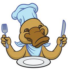funny happy cartoon platypus or duckbill vector image