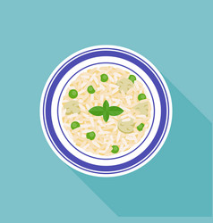 mushroom and peas risotto rice vector image vector image