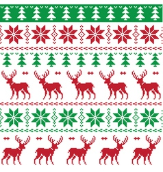 Nordic seamless pattern deer and christmas tree vector image
