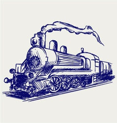 Steam train with smoke vector image