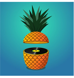summer music party with pineapple vector image vector image