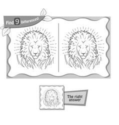 find 9 differences game lion vector image vector image