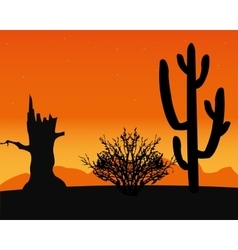 Desert and cactus vector