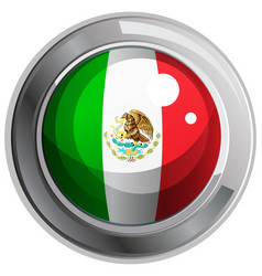 flag of mexico on round badge vector image vector image
