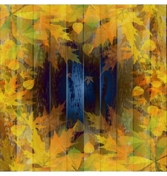 Grunge background with autumn leaves vector image