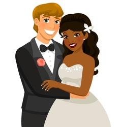 interracial marriage vector image vector image