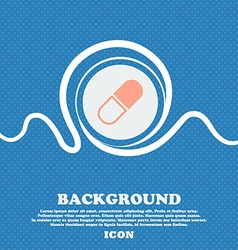pill icon sign Blue and white abstract background vector image