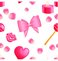 pink seamless pattern with valentine items vector image vector image