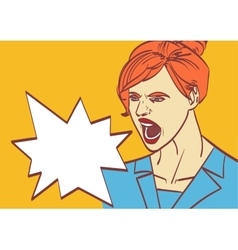 Screaming woman art business lady boss in vector
