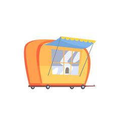 street fast food trailer cartoon vector image vector image