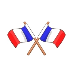 Two crossed Flags of France icon cartoon style vector image