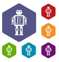 Abstract robot icons set hexagon vector