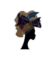 African wedding hairstyle head wrap colorful scarf vector
