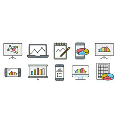 analysis statistics line icons chart report vector image