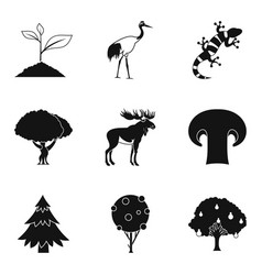 Animate nature icons set simple style vector