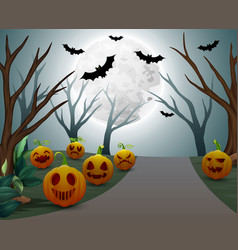 Background of halloween celebration on night vector