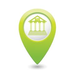 Bank icon green pointer vector