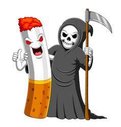 Best friend cigarette and a grim reaper vector